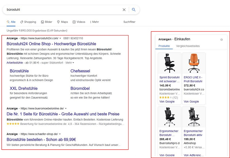 Die Ergebnisseite der Google-Suchmaschine. Es werden Einträge für das Keyword Bürostuhl angezeigt.