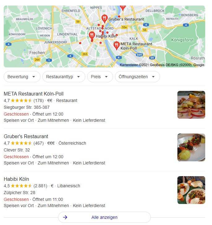 Ergebnisseite bei Google für Lokale-Einträge. Es werden Restaurants in Köln aufgelistet.