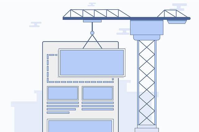 Eine Grafik die Zeigt, wie eine Website mit einem Kran gebaut wird.