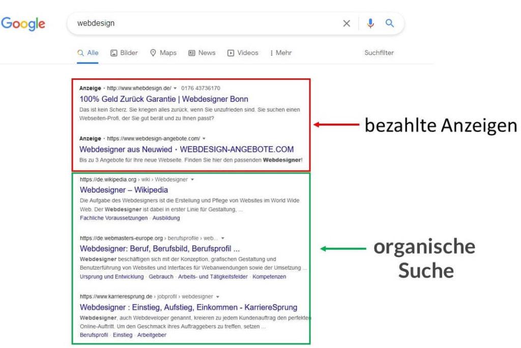 Suchergebnisse bei Google für das Keyword Webdesign. Es werden bezahlte und organische Website- Einträge angezeigt
